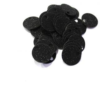 Παγιέτες 20mm με τρυπούλα 100γρ. Μαύρο με Γκλίτερ